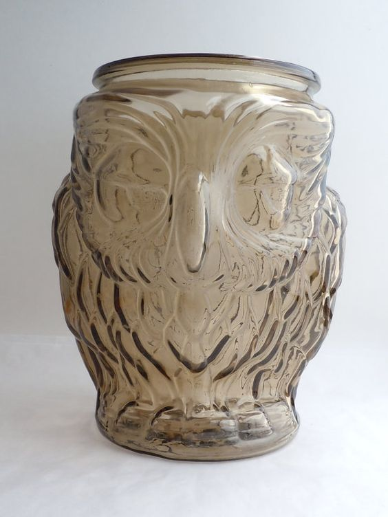 Fun Vintage Smokey Glass Owl Canister Cookie Jar 70s