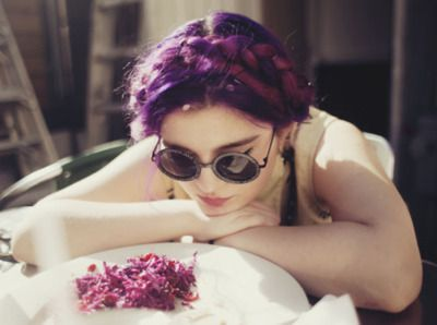 Lovely dark violet hair in a braided updo. my dream hair!