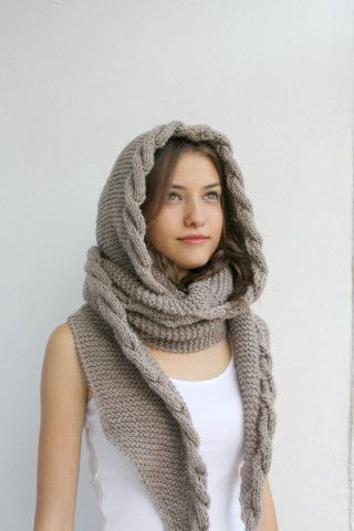 Milky Brown Wool Hooded Cabled  Long Scarf
