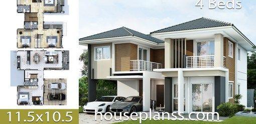 House Plans Idea 11 5x10 5 With 4 Bedrooms House Plans 3d Home Design Plans Architectural House Plans House Design