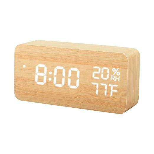 Tissa Wooden Led Alarm Clock Wood Cube Digital Desk Alarm Clock With 3 Brightness Adjustable 3 Set Of Alarm Dua Alarm Clock Led Alarm Clock Desk Alarm Clock
