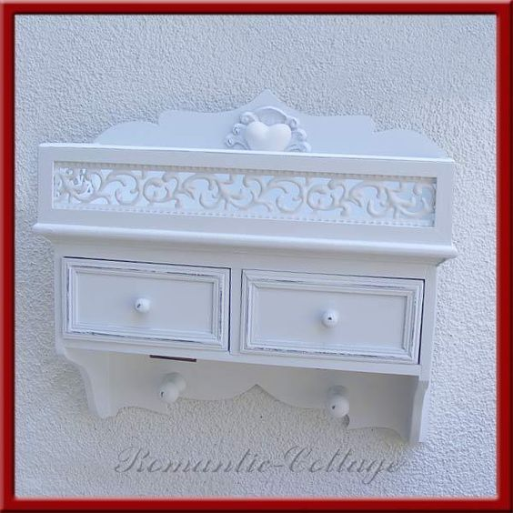 Wandregal Wandschrank Regal weiß Landhausstil von Romantic-Cottage auf DaWanda.com
