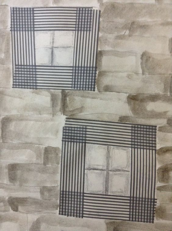 Windows. Gelato wash, graphite, and washi tape.