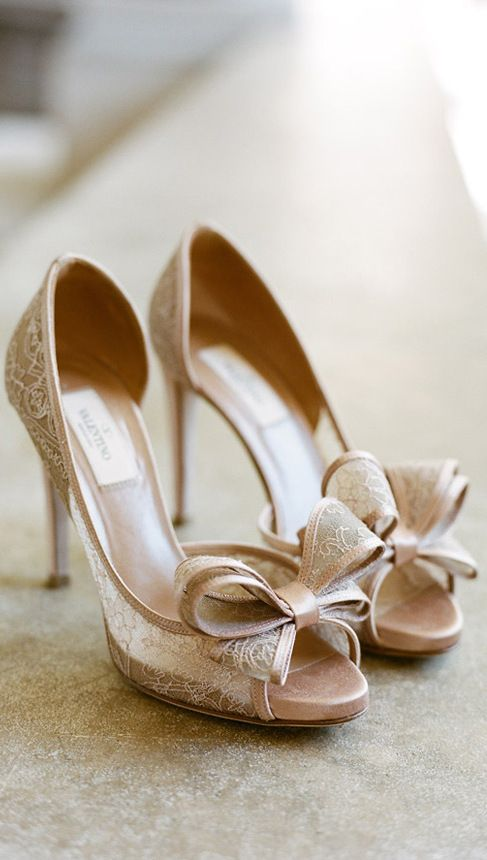 Valentino Bow Tie Peep-Toe Lace Shoes