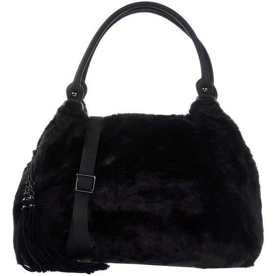 Philosophy Di Alberta Ferretti Handbag (£213) ❤ liked on Polyvore featuring bags, handbags, black, tassel handbags, leather shopper, animal purse, leather handbag purse and man bag