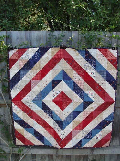 Red, white and blue-so simple because it is done using all half square triangles: