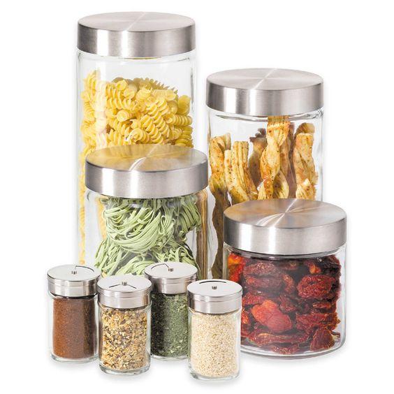 Oggi™ 8-Piece Round Glass Canister Set with Spice Jars