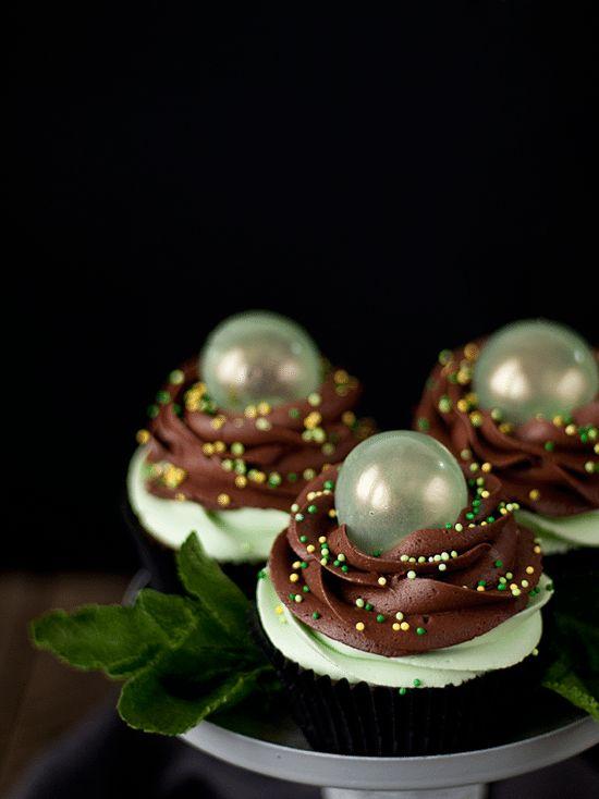 Cupcakes de chocolate y menta con burbujas de gelatina - Megasilvita