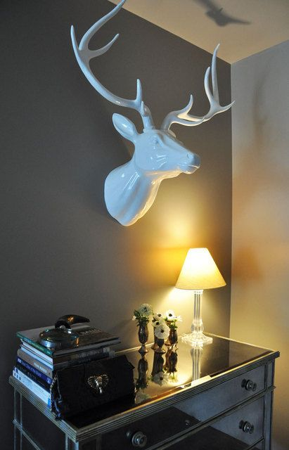 Ceramic Reindeer, similar available at West Elm and on Etsy - for over fireplace!