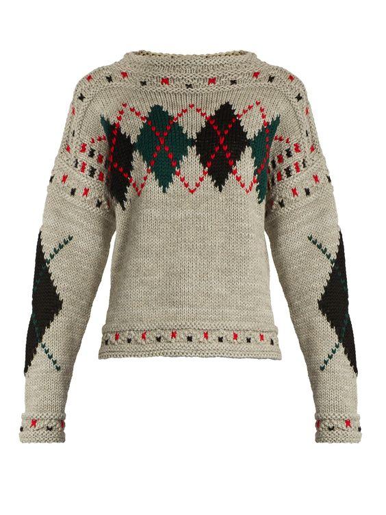 Glens argyle intarsia-knit sweater | Isabel Marant | MATCHESFASHION.COM UK