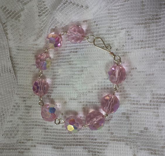 Cotton Candy Pink Faceted Glass AB Bracelet by GirlyPossessions on Etsy