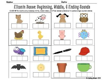 Elkonin Boxes: Beginning, Middle, & Ending Sounds | Boxes, Student ...