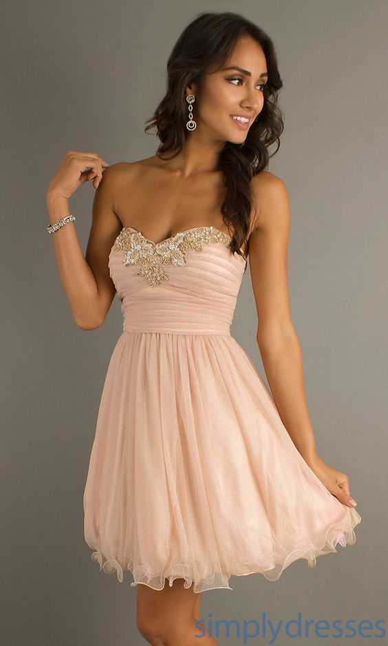 Short Strapless Prom Dresses- Pink Short Dresses - Simply Dresses ...