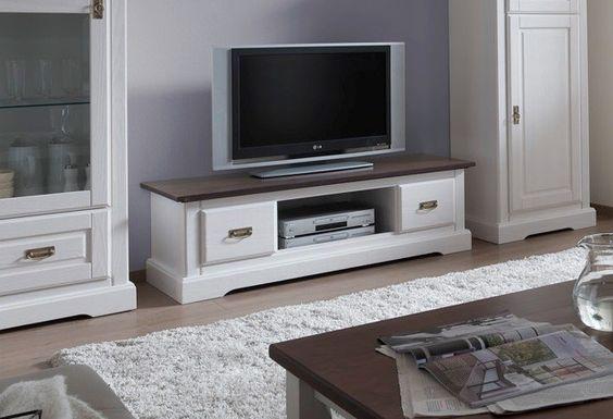 TV Lowboard Landhausstil Weiss PINETA Günstig Online Kaufen | PICK UP MÖBEL