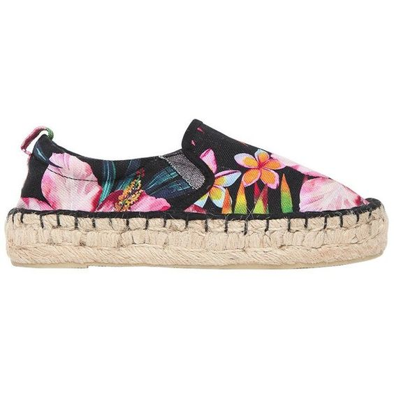 Colors Of California Kids-girls Flower Print Cotton Canvas Espadrilles (410 NOK) ❤ liked on Polyvore featuring black