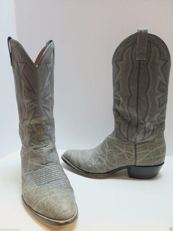 El Dorado Grey Elephant Skin Men S Cowboy Boots Size 10