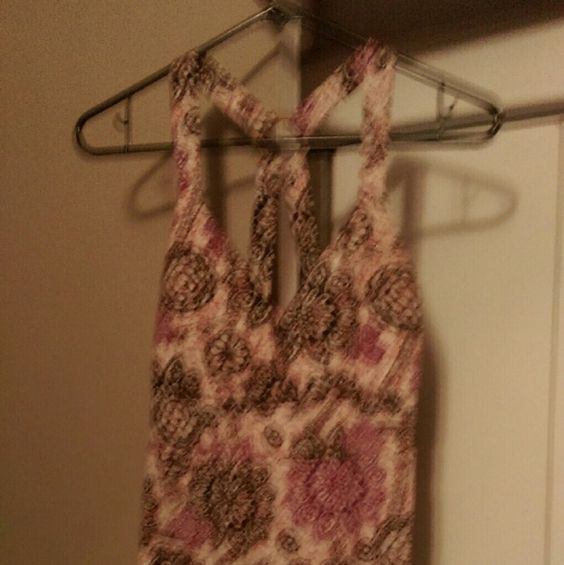 Tank Top Super cute tank top. Built-in padded bra. Cream color tank top with pink and brown print. Tops Tank Tops