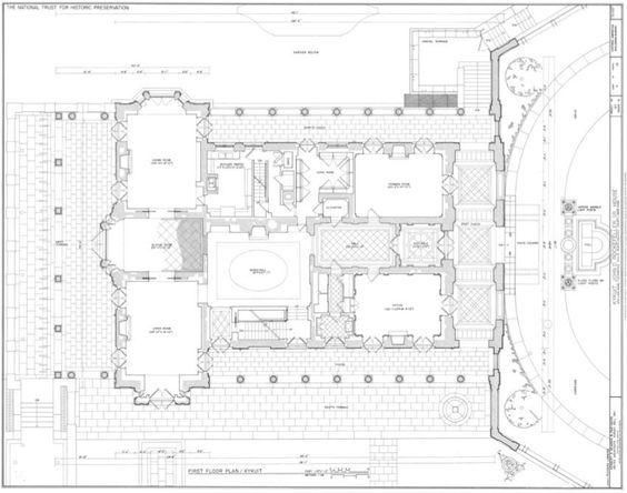 Living Areas Rockefeller Family Mansion Of Kykuit Architectural Floor Plans Mansion Plans Vintage House Plans
