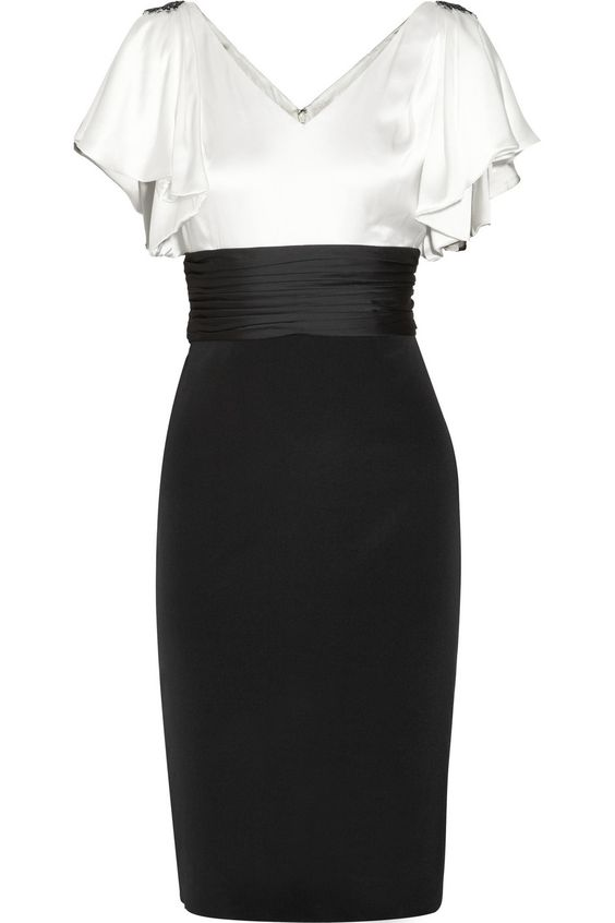 Embellished silk-satin and jersey dress by Notte by Marchesa