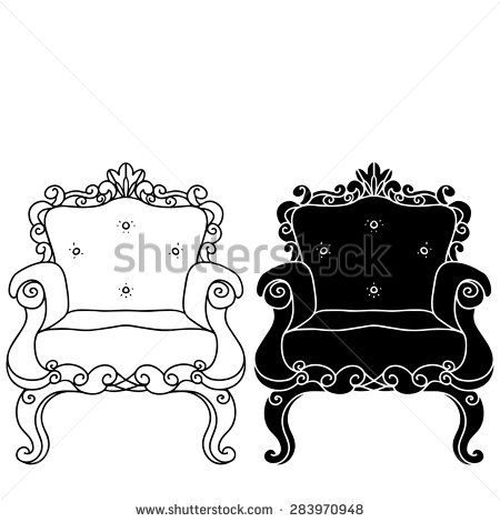 Furniture hand drawn set, vintage chair, armchair, throne front view closeup, line art, black silhouette isolated on a white background  - stock photo
