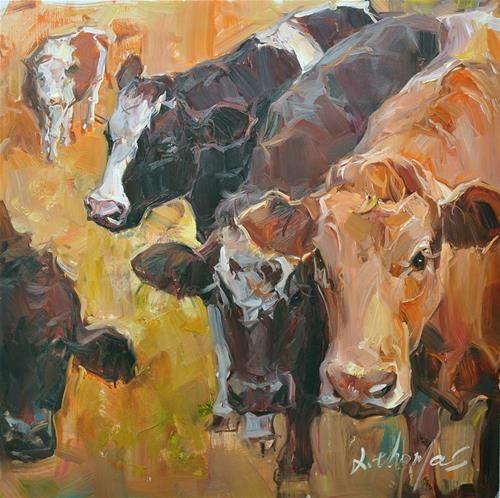 Daily Paintworks Cows Original Fine Art For Sale C Thomas Xie Cow Painting Painting Animal Art