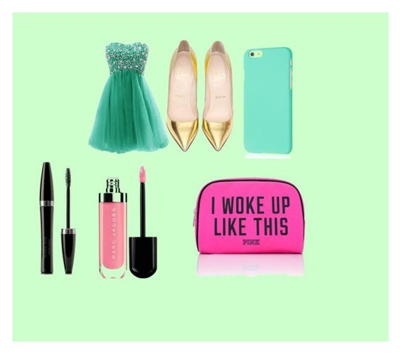 """""""[;prom"""" by jisellefreeman ❤ liked on Polyvore featuring Christian Louboutin, Mary Kay, Victoria's Secret PINK, women's clothing, women's fashion, women, female, woman, misses and juniors"""