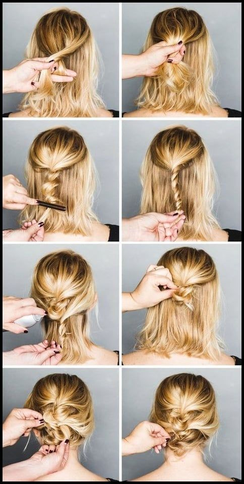 Easy Formal Hairstyles For Short Hair Hair Pinterest Easy Short Hair Updo Short Hair Styles Easy Braids For Short Hair