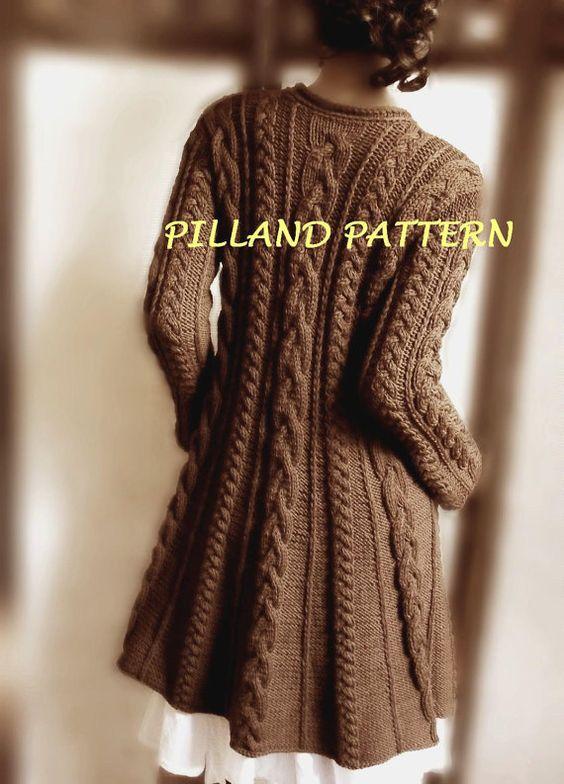 Merino Wool Sweater Coat knitting pattern. Long cardigan sweater