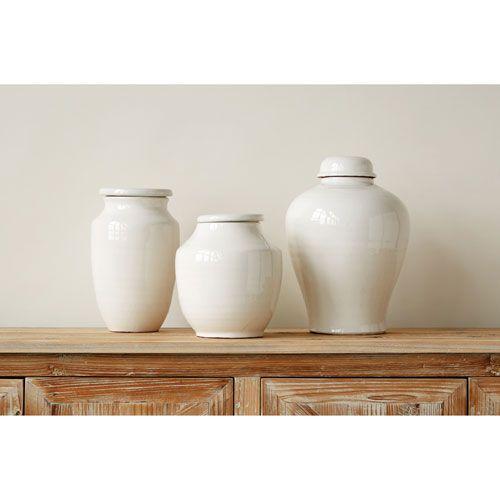 Large White Round Terracotta Cachepot Decorative Urns Table Vases Ceramic Decor