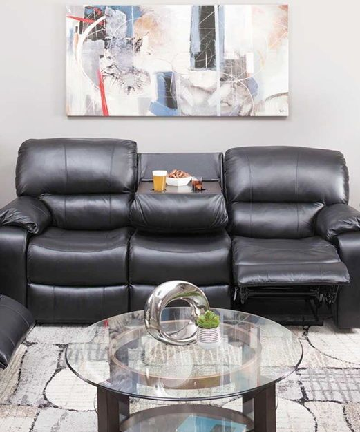 Superb Wade Black Top Grain Leather Reclining Sofa With Drop Down Uwap Interior Chair Design Uwaporg
