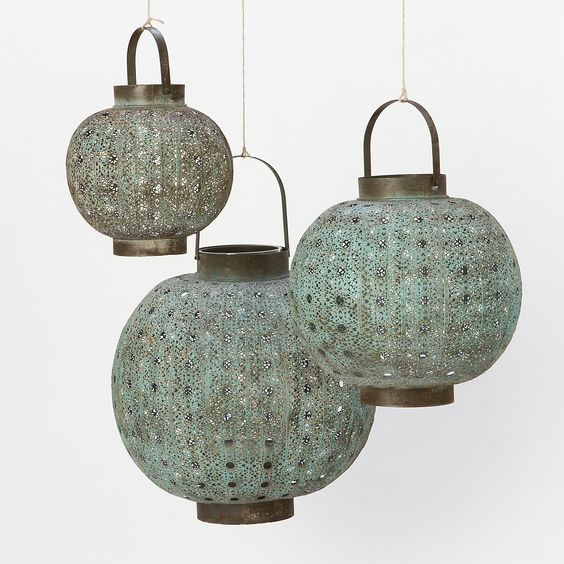 Verdigris Filigree Lanterns in House+Home HOME DÉCOR Room Accents Candleholders at Terrain