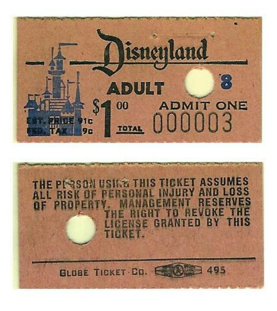 1955 Opening Day Ticket to Disneyland.  Price has increased a tad since then!