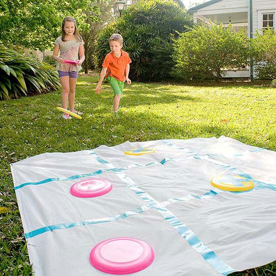 We know this says for kids, but we think your taller guests will love this fun Disk Tic-Tac-Toe game too! More outdoor games here: http://www.bhg.com/party/birthday/party-games/fun-outdoor-games-for-kids/?socsrc=bhgpin070714disktictactoe&page=5: