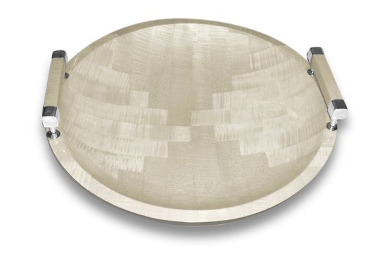 Round Veneer Tray with Silver Alpaca Handles - Today's sale at Belleandjune | white tray, round tray, silver tray, ottoman tray