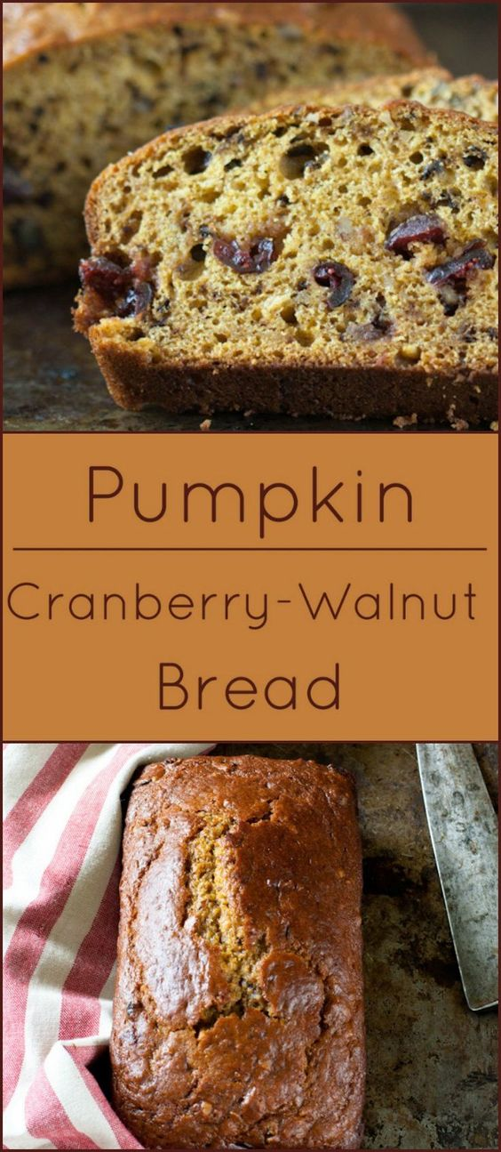 Moist and tender Pumpkin Cranberry Walnut Bread with a hint of autumn spices.