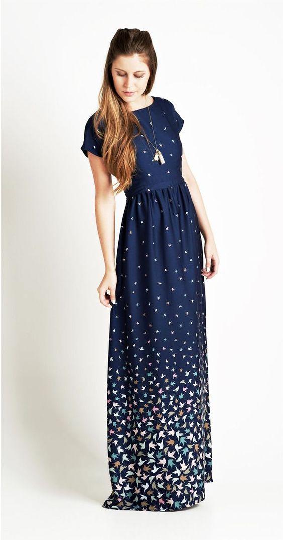 Vestimenta Juvenil. vestido largo bello en color azul y dese~os de paloma..: