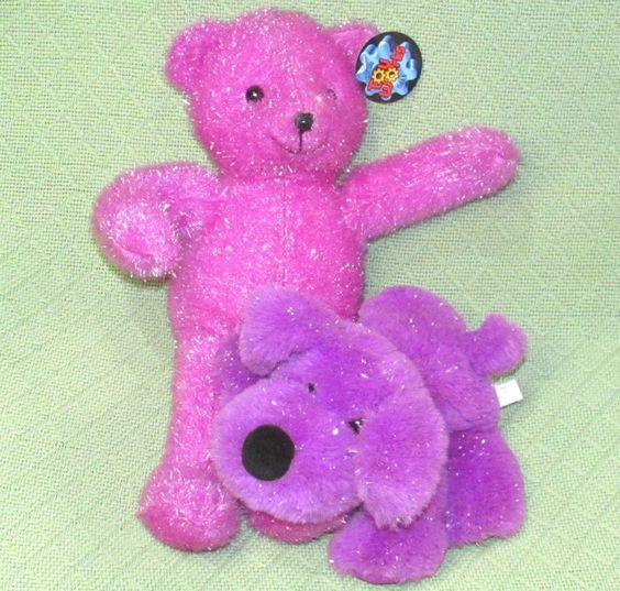 "Purple Plush DOG & TEDDY 15"" Toy Works Sparkly Bear & 10"" Anico Floppy PUPPY Toy #seetitle"