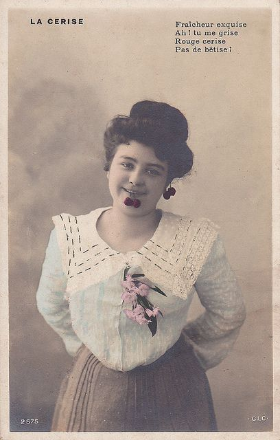 La Cerise                                                     RPPC. French postcard with hand tinting