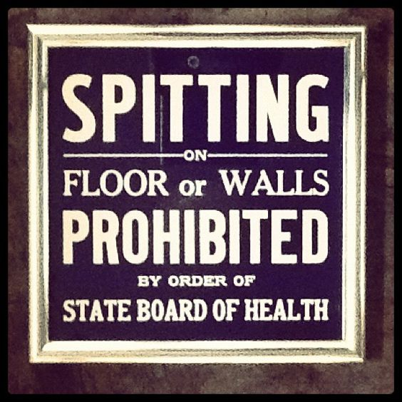Spitting on Floors or Walls Prohibited | Vintage sign in kitchen of Chez Fishingham | 09.17.12 | Photo by Jeff Fisher