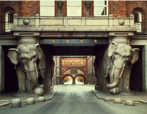 No idea where this is but love the image of the two elephants supporting the building.