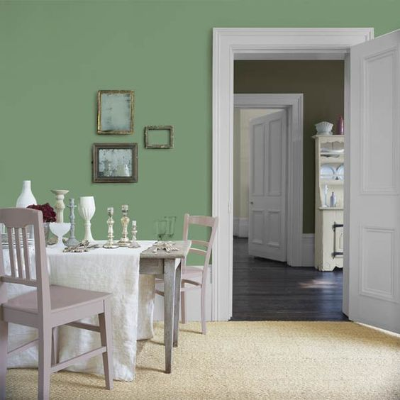 Mismatched picture frames, vessels, and chairs gain a sense of cohesion from Glidden's Sea Glass Green (GLG25). | Photo: Courtesy of Glidden: Room Colors 2015, Decorationideas 2015, Cottage Coastal Colors, Color Paletts, Decoration Design, Pastel Colors, Pantone Color, 2014 Pantone