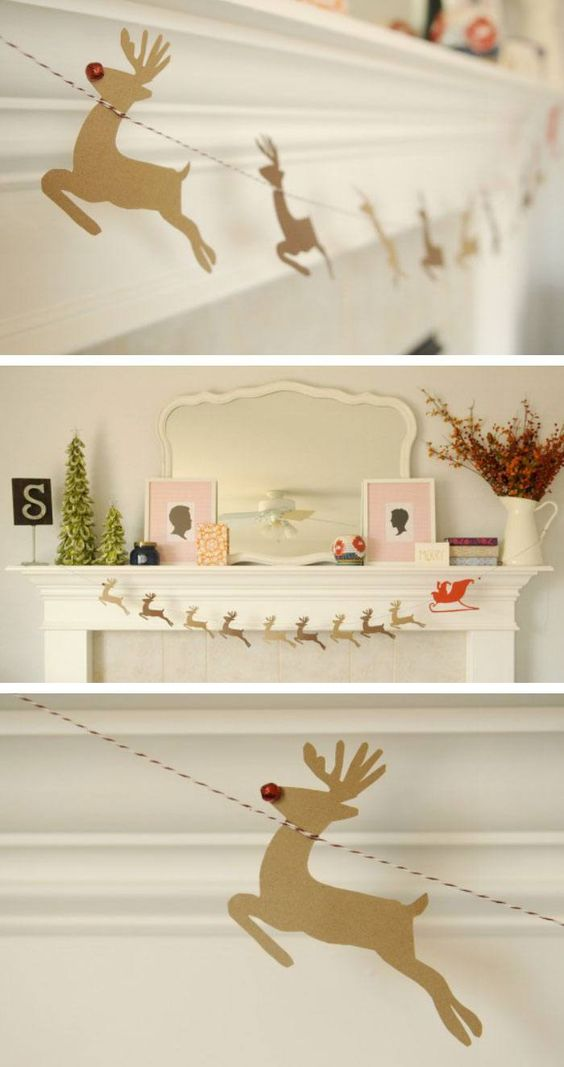 Make this handmade reindeer and Santa garland in time for Christmas and string them across your mantel
