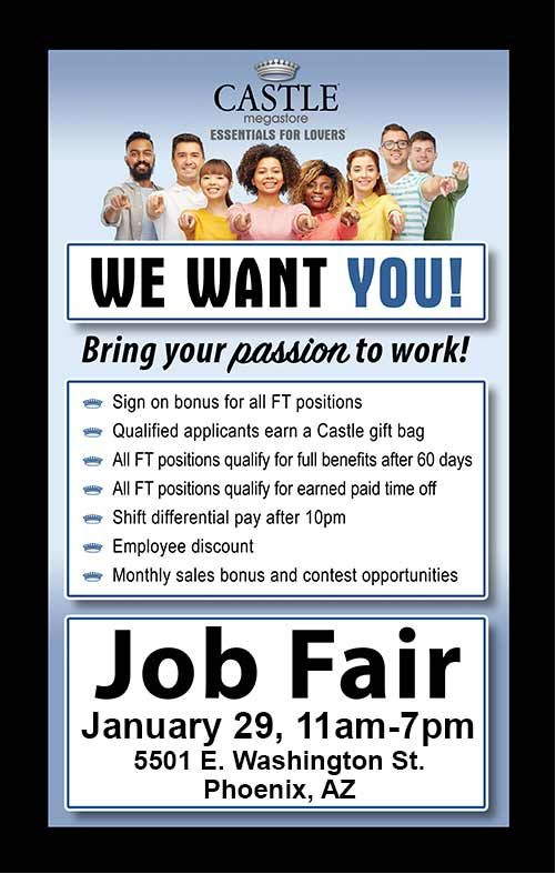 Castle Megastore Job Fair Monday 1 29 11am 7pm Located At 5501 E Washington St Phoenix Az Job Fair We Are Hiring Castle Gifts