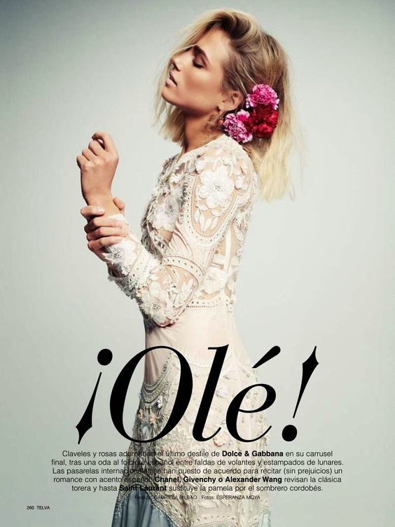 """Ole!' Tosca Dekker by Esperanza Moya for Telva Spain March 2015:"