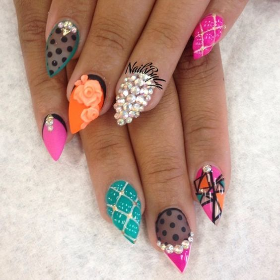 Turquoise Stiletto Nail Art: Fun Colors! Hot Pink Orange Turquoise And Black With Bling