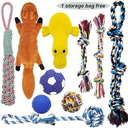 Mlcini Dog Toys Plush Dog Squeaky Toys Rope Dog Toy Dog Ball Dog