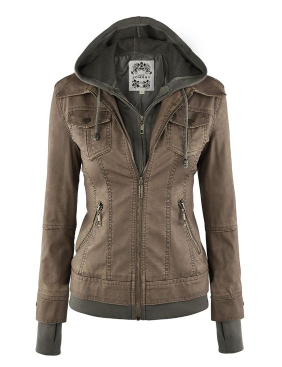 LL Womens 2-For-One Hooded Faux leather Jacket at Amazon Women's ...