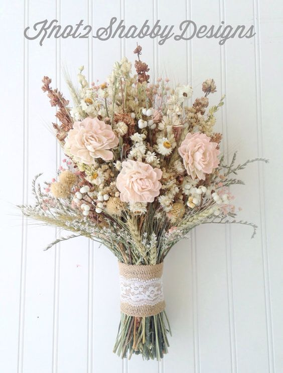 Sola flower blush wildflower bridal bouquet  by Knot2ShabbyDesigns - maybe for in the watering can on the gift table
