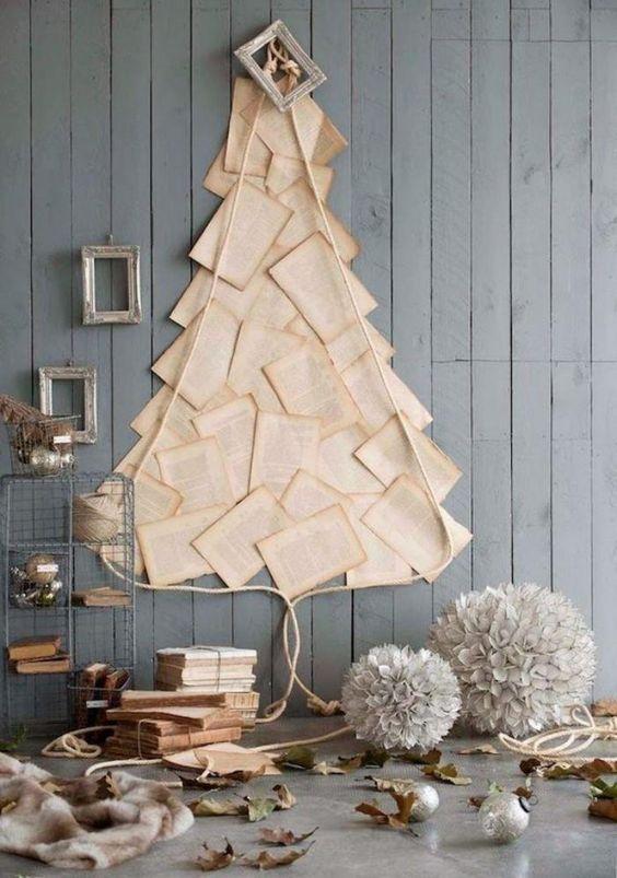 arbre de noel, arbre de noel mural avec des pages d'un livre