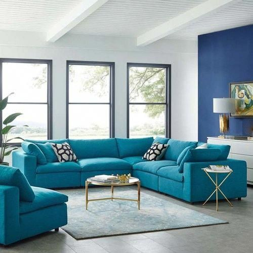 Commix Down Filled Overstuffed 5 Pc Sectional Sofa Set In Teal Contemporary Decor Living Room Sofa Set Sofa Set Designs